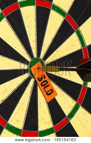 Sold. Darts With Dart Which Was Pinned A Sheet Of Paper For Labels