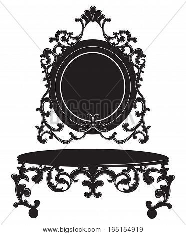 Vintage Baroque Imperial Dressing Table and Mirror set. French Luxury rich carved ornaments decor. Vector Victorian exquisite Style furniture poster