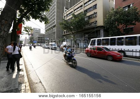 CARACAS VENEZUELA - MAY 06 2014 - view of downtown caracas with transit and buildings