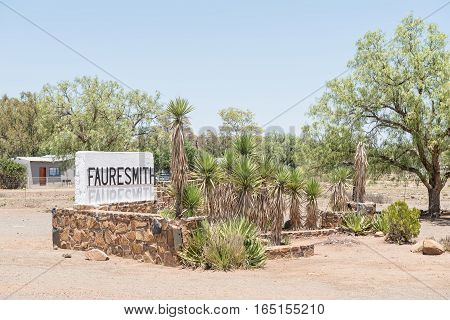 The entrance to Fauresmith a small town in the Free State Province of South Africa