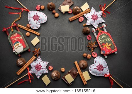Christmas Decorations, White And Dark Chocolate, Dried Berries, Truffles