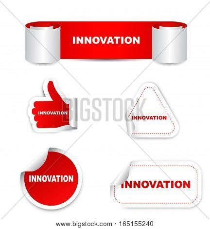 This is red set vector paper stickers innovation