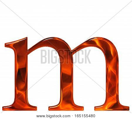 Lowercase Letter M - The Extruded Of Glass With Pattern Flame, Isolated On White Background