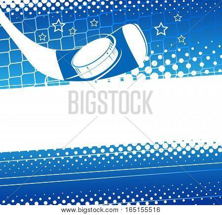 Hockey background. Hockey puck flies into the net gate