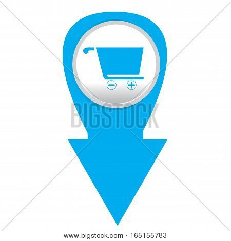 Isolated web pin with a shopping cart icon, Vector illustration