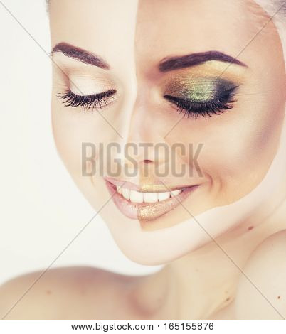 half faced woman before tanning and after close up isolated on white smiling, creative spa