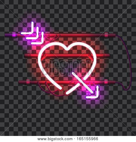 Glowing red neon heart pierced with purple arrow with holders, brackets and wires isolated on transparent background. Shining and glowing neon effect. Valentines heart. Love and wedding symbol.