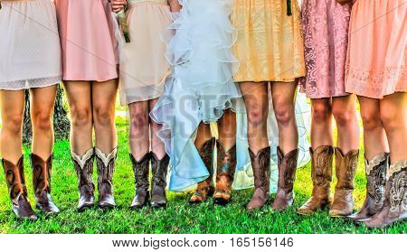 Many Boots and Legs of Girls in Wedding Party
