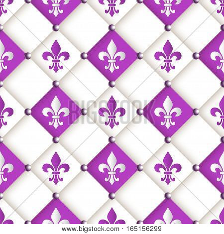 Mardi Gras Carnival seamless pattern with fleur-de-lis. Mardi Gras endless background texture wrapper. Vector EPS10.