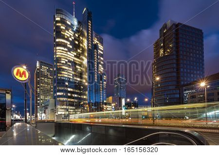 WARSAW POLAND - DECEMBER 28 2016: Downtown Warsaw Financial center in Warsaw Poland. Warsaw is one of the most economical successful capital in Europe in last few years.