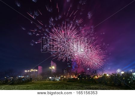 New years Eve in Warsaw Poland 2017. Fireworks light up the sky