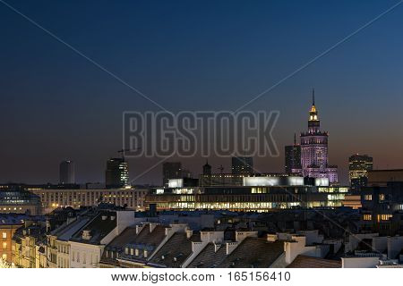Sunset over Warsaw downtown in winter time Poland