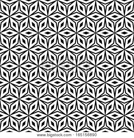 Vector seamless pattern, repeat monochrome geometric ornamental texture, oriental style, black & white figures. Abstract mosaic background. Design element for prints, decoration, digital, cover, cloth