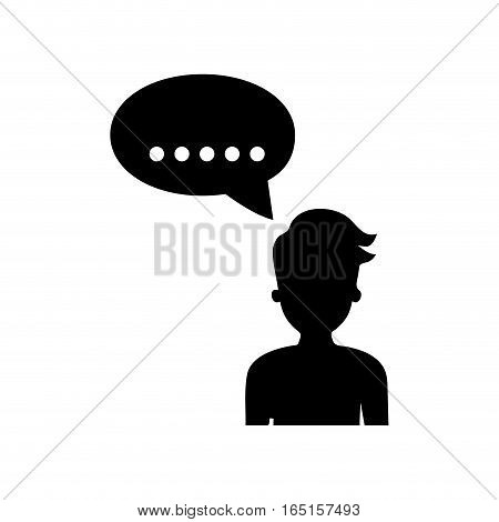 Man talking silhouette icon vector illustration graphic design