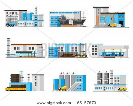 Industrial factory collection with chemical nuclear timber plants and plane ship bus manufacturing isolated vector illustration