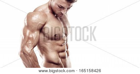 Muscular Bodybuilder Guy Standing Over White Background