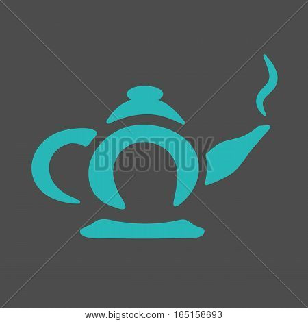 Hot blue teapot on a beautiful gray background