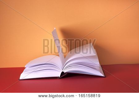 Open book on bright colorful background. Back to school. Copy space