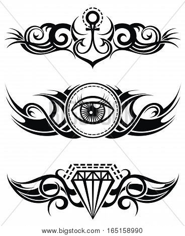 Tribal tattoo elements for your design. Tattoo elements