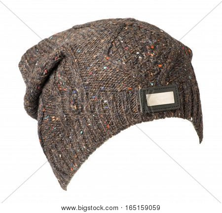 Hat Isolated On White Background .knitted Hat .brown Hat .