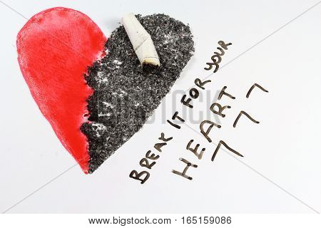 Smoking may kill your heart. Break it now.