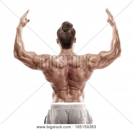 Strong Athletic Man Fitness Model posing back muscles triceps latissimus over white background poster