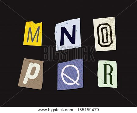 Colorful Newspaper Cut Letters Set EPS 10