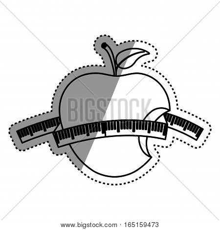 Apple with ruler icon vector illustration graphic design