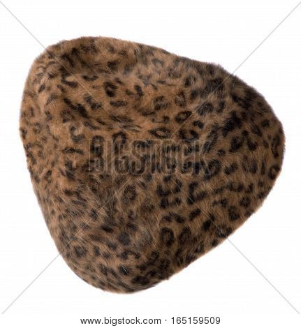 Women's Hat . Knitted Hat Isolated On White Background.brown Hat In Black Spots .