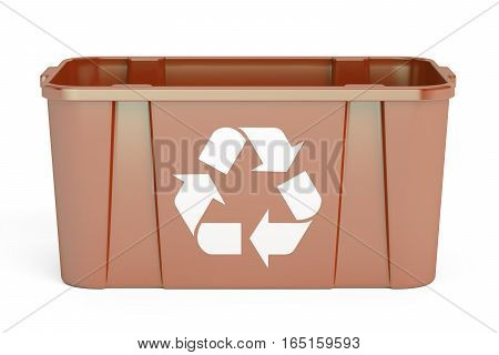 Brown recycling bin 3D rendering isolated on white background