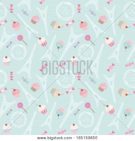 Cute seamless pattern background with Eiffel tower cupcakes and sweets on pastel blue. For web page design notebook cover wrapping or scrapbook paper. Vector EPS10.