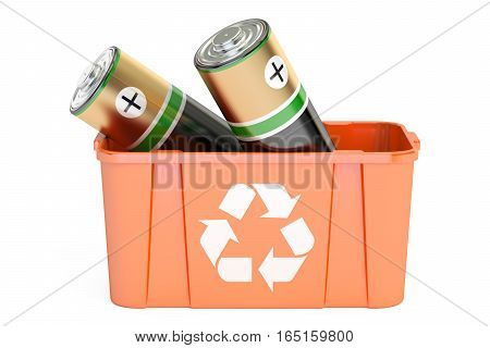 recycling bin with batteries 3D rendering isolated on white background
