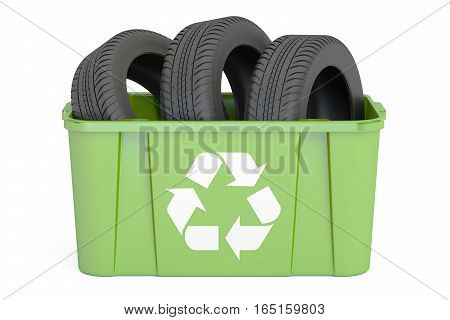 recycling trashcan with tyres of car 3D rendering isolated on white background