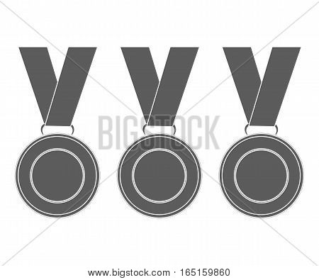 Medals for the winners of the Champions. vector illustration, flat icons