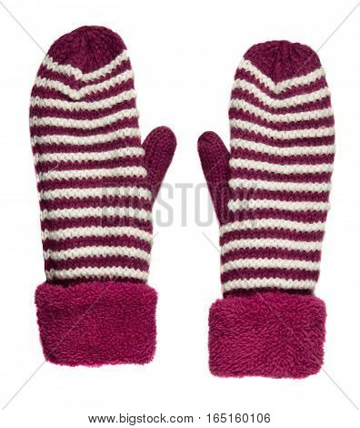 Mittens Isolated On White Background. Knitted Mittens. Mittens Top View.mittens Crimson With White S