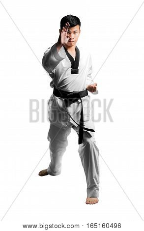Portrait Of A Handsome Asian Man With Taekwondo Black Belt . Isolated On White Background