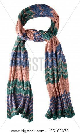 Scarf Isolated On White Background.scarf  Top View .pink Scarf In Blue And Green Stripes .