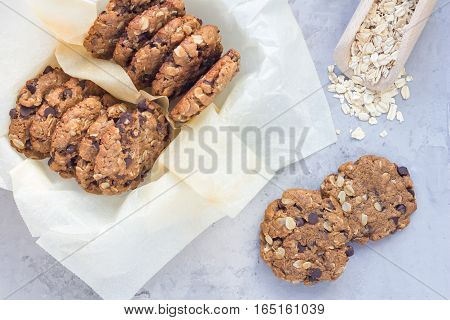Flourless gluten free peanut butter oatmeal and chocolate chips cookies top view horizontal