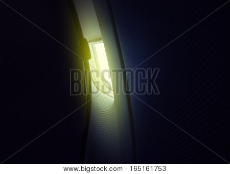Passenger view in airplane to the window in front of him -escape space security concept