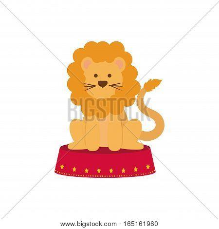 Circus lion cartoon icon vector illustration graphic design