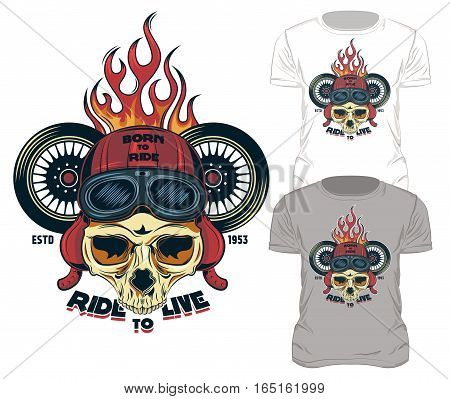 Fire print skull t-shirt design old school style biker print with motorcycle wheels and symbols vector illustration