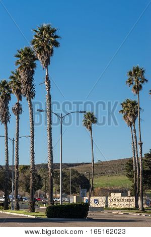 Lompoc California USA - January 14 2017: The entrance of Vandenberg Air Force Base where Spacex launched this morning a Falcon 9 rocket transporting ten Iridium satellites. Blue sky and palm trees.
