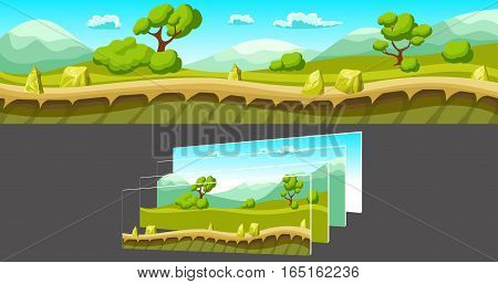 Cartoon summer landscape with trees and mountains and separated layers for game on grey background vector illustration