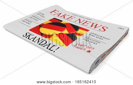 Fake News Germany Concept: Newspaper Front Page 3d illustration on white background
