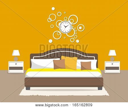 Bedroom in an orange color. There is a bed with pillows, bedside tables, a big round clock on the wall, lamps and other objects in the picture. Vector flat illustration