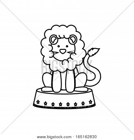 Circus lion cartoon icon vector illustration graphic design