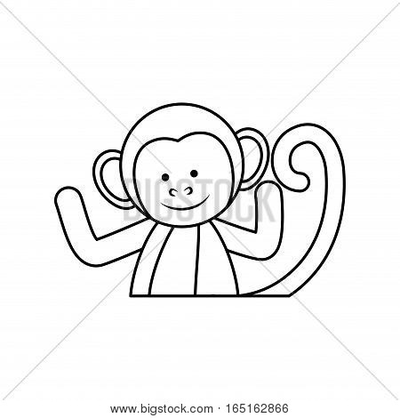 cute mokey cartoon icon vector illustration graphic design