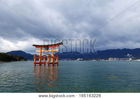 Floating Torii Gate In Miyajima, Japan.