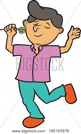 Man Smelling Flower Cartoon Illustration Isolated on White