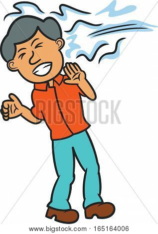 Man with Water Thrown at His Face Cartoon Illustration